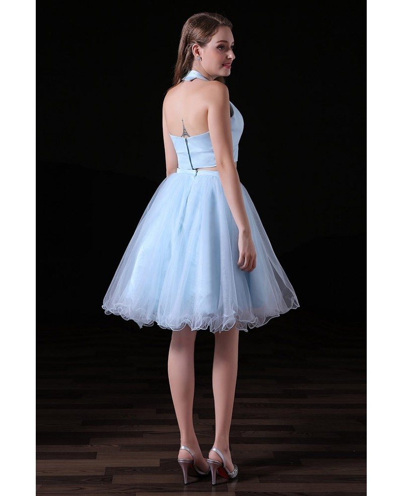 A-line Two Pieces Knee-length Tulle Homecoming Dress With Open Back