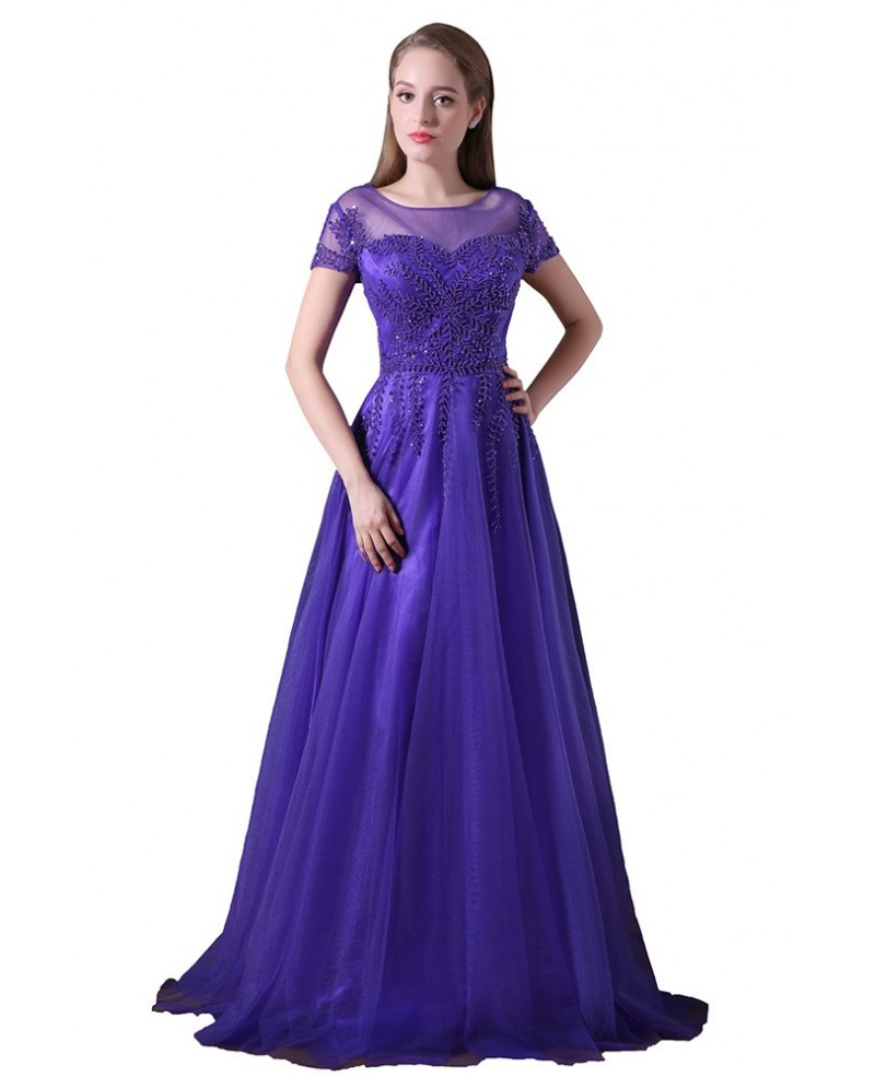 A-line Scoop Neck Floor-length Tulle Prom Dress With Appliques Lace