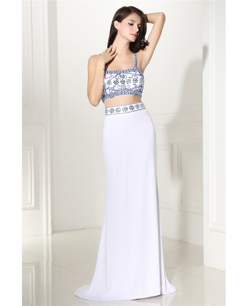 Two Piece Long White Prom Dress with Beaded Straps