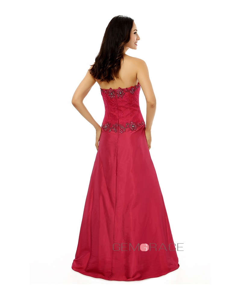 A-line Strapless Floor-length Prom Dress