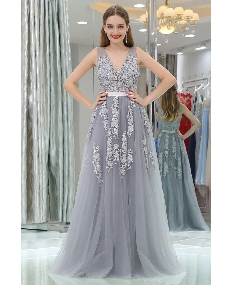 Girls Lavender Tulle Lace Long Prom Dress For Party