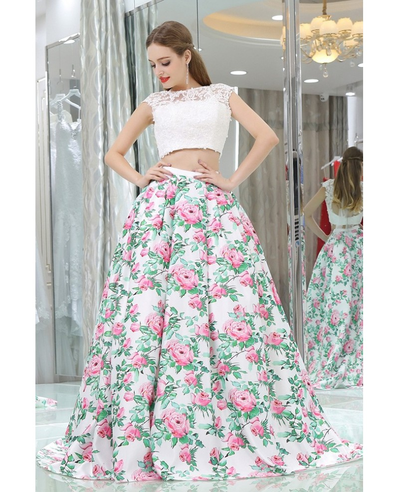 Beautiful Floral Print White Lace Prom Gown In 2 Piece For Women