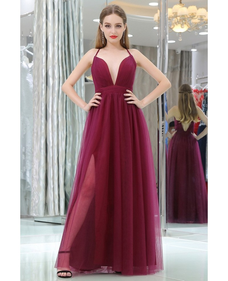 Burgundy Deep V Pleated Tulle Evening Dress With Split Front