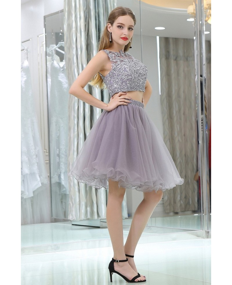 2 Piece Lavender Tulle Short Suit Skirt With Lace Jacket For Prom Girls