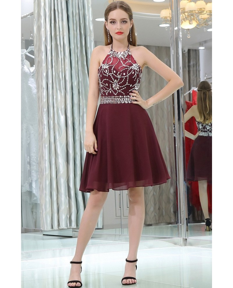 Halter Short Chiffon Beaded Prom Dress In Burgundy