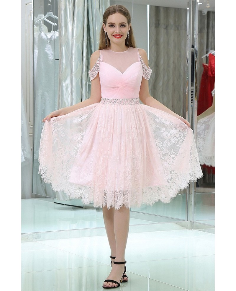 Girls Short Pink Lace Beaded Prom Dress With Off Shoulder Straps
