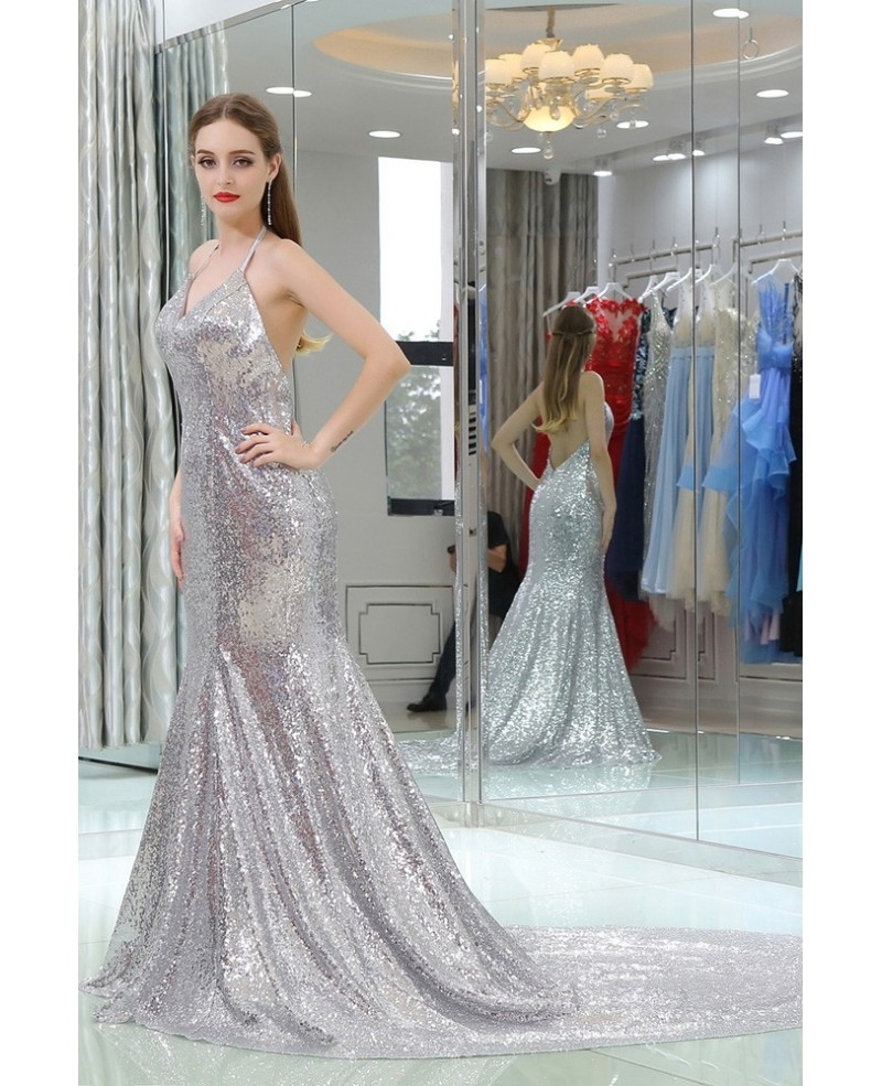 362c7bf0038 Silver Sequin Mermaid Prom Dress