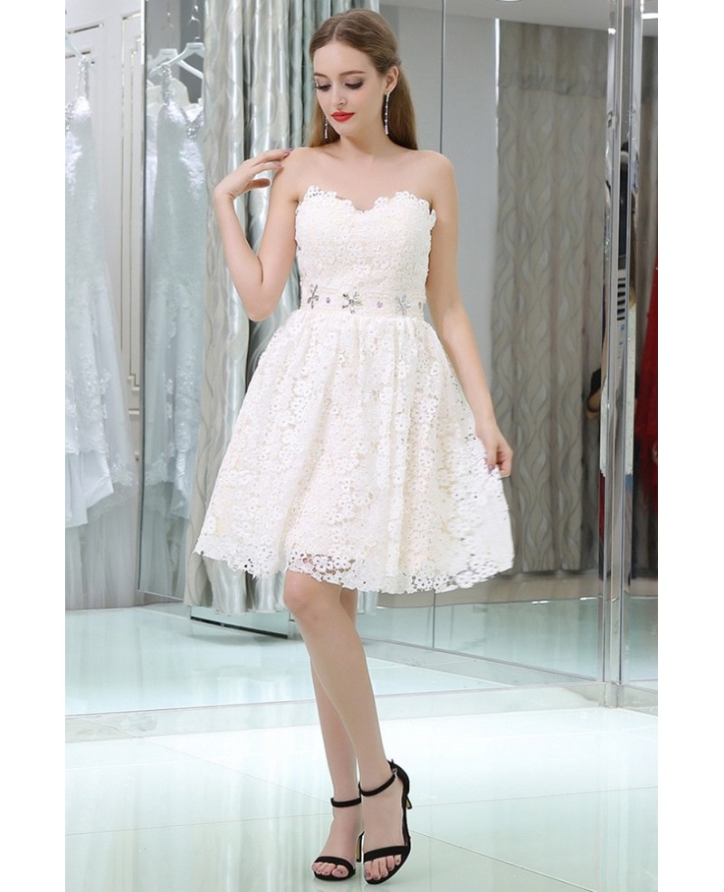 Sweetheart Short Lace Beaded Simple Little Dress For Prom