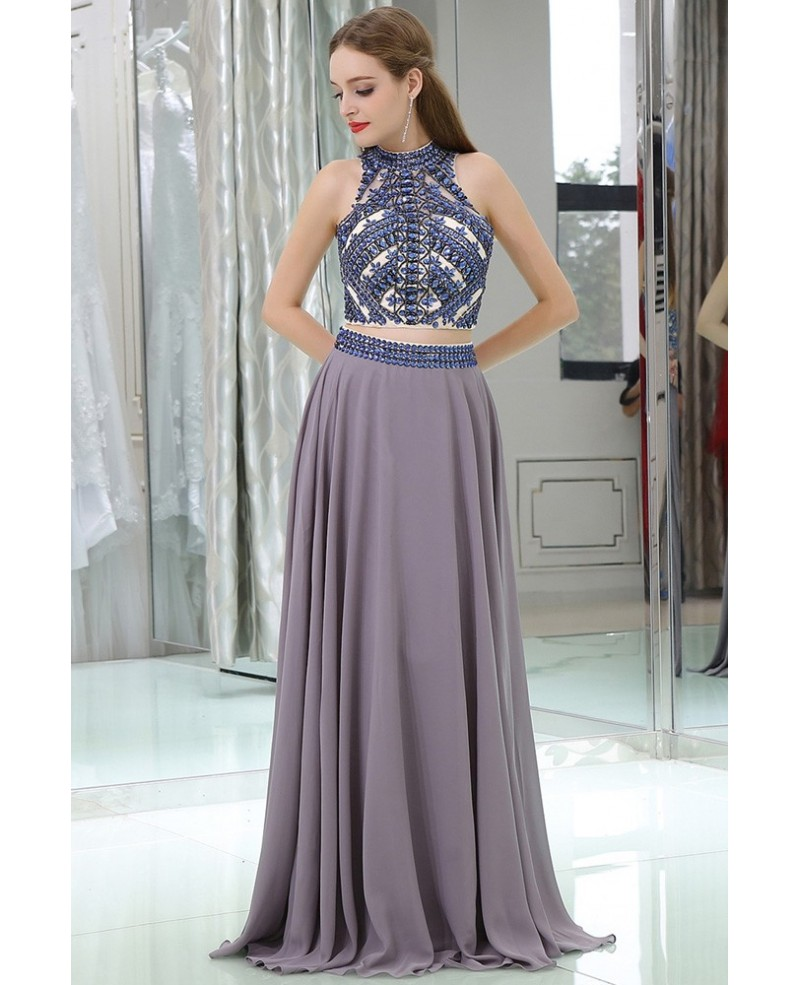 Long Chiffon Sexy 2 Piece Unique Prom Dress With Crystals