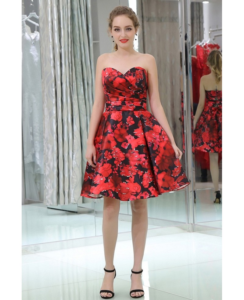 Strapless Sweetheart Little Black And Red Prom Dress In Floral Print Style