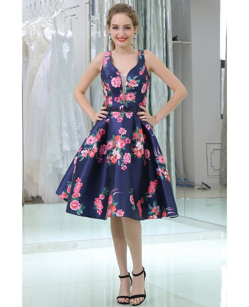 Straps Short Blue Floral Print Beaded Evening Dress For Women