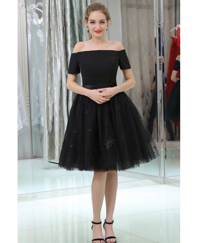Little Black Short Lace Tulle Satin Prom Dress With Off The Shoulder Sleeves