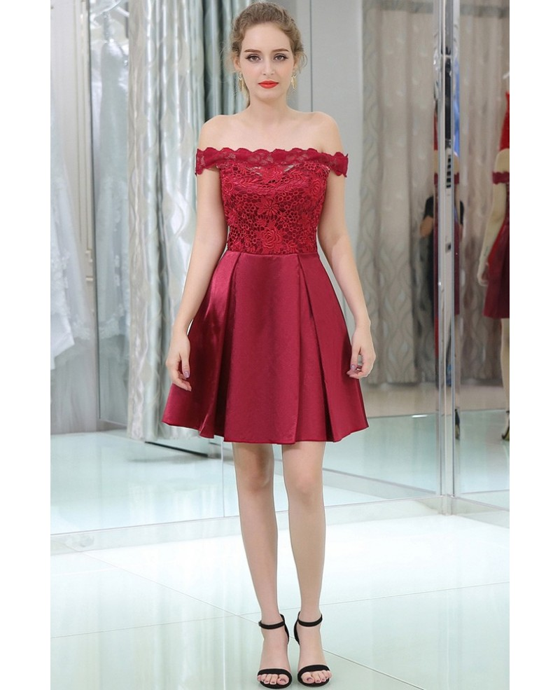 Off The Shoulder Burgundy Lace Satin Prom Dress In Cocktail Length