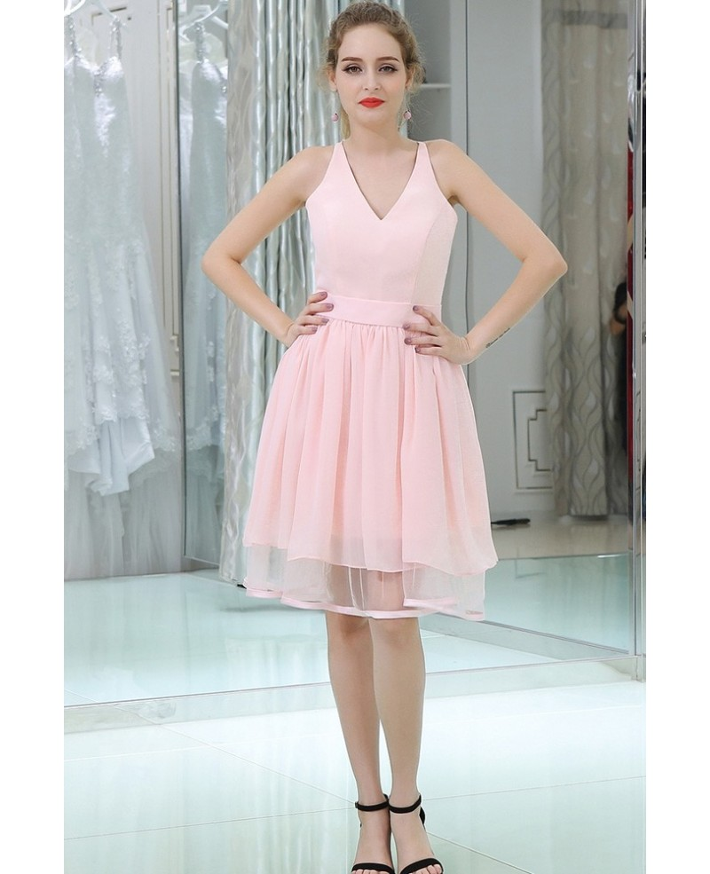 Knee Length Sweetheart Chiffon Pink Prom Dress With Lace Back