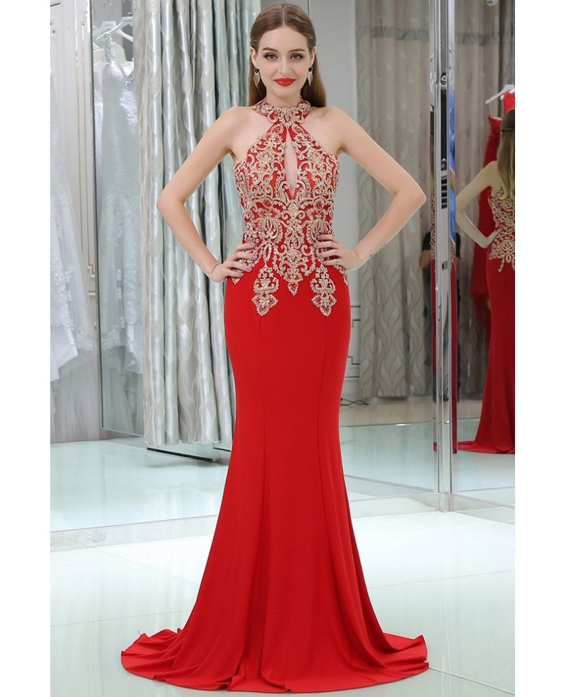 Long Halter Mermaid Little Trained Red Prom Dress With Gold Applique Lace