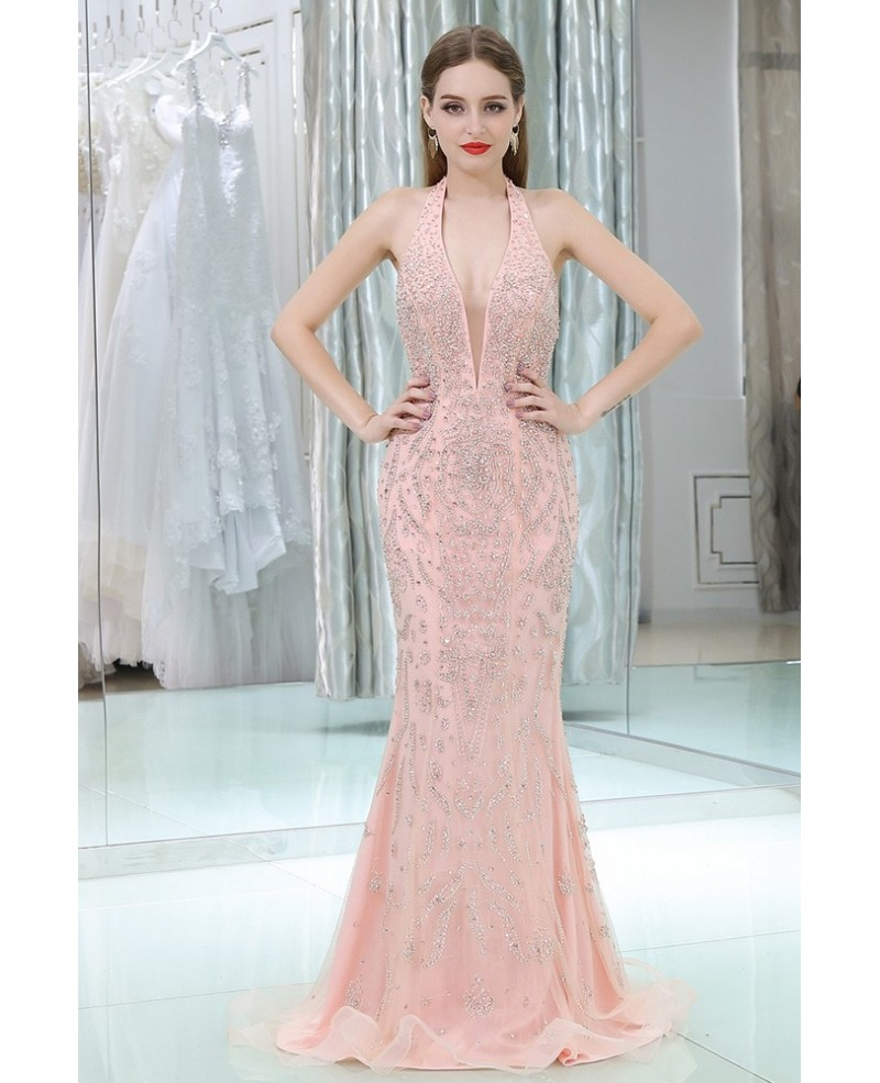 Sparkly Open Back Formal Pink Evening Dress With Long Halter Neck