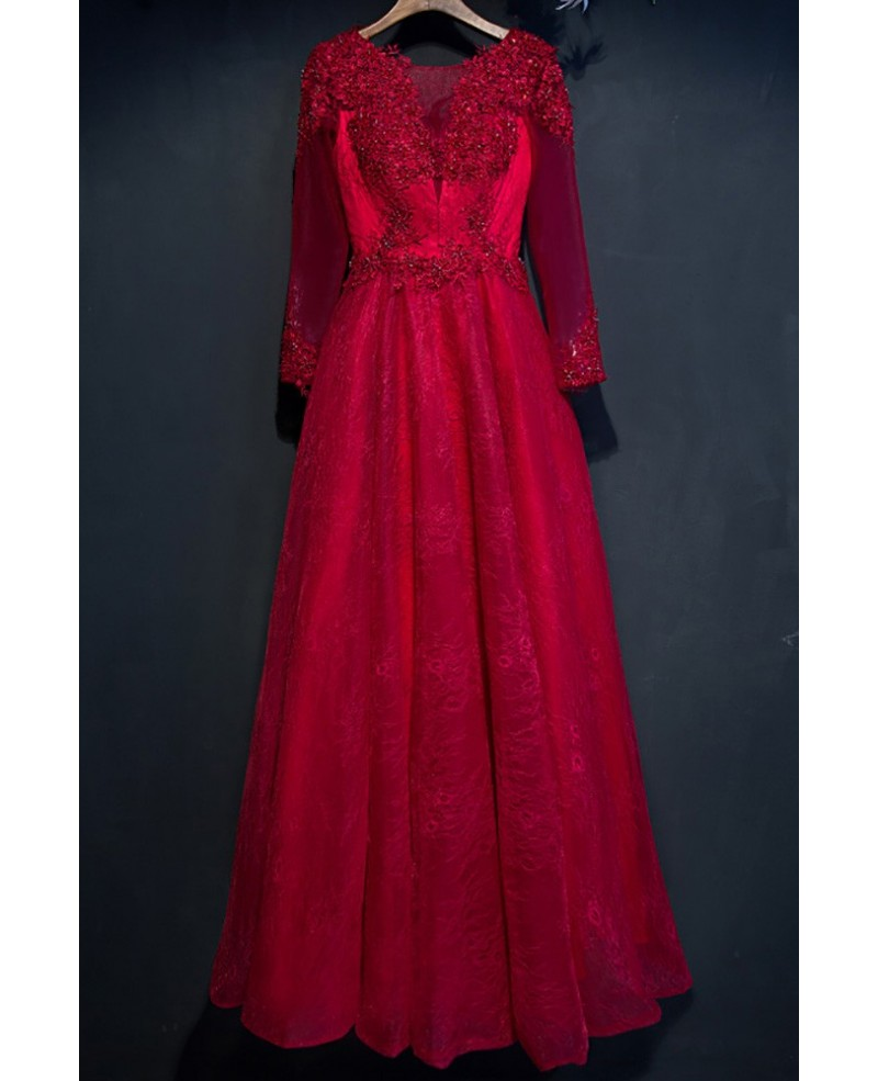 Burgundy Long Sleeve Lace Prom Dress With Corset Back
