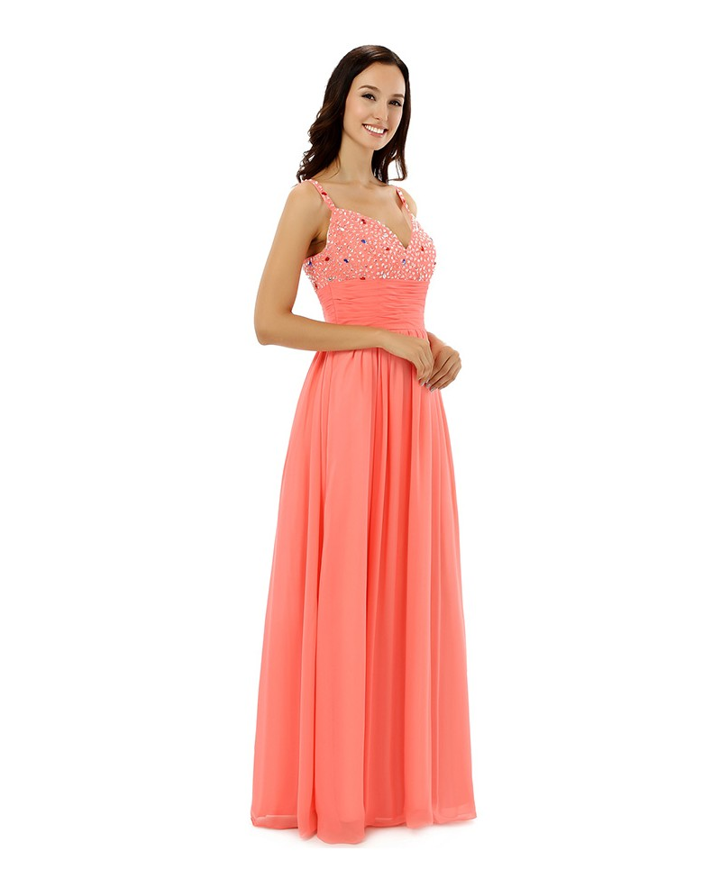 Sheath Sweetheart Spaghetti-strap Floor-length Prom Dress