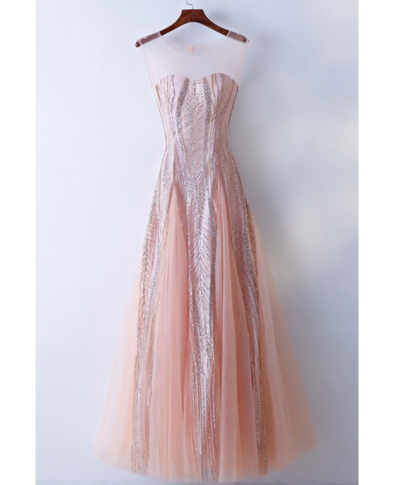 Unique Illusion Neckline Sparkly Pink Prom Dress Long Tulle