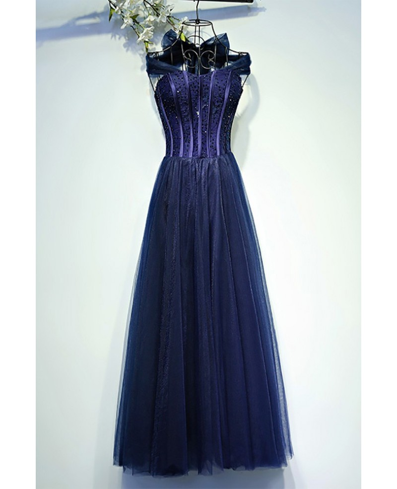 Vintage Chic Navy Blue Corset Prom Dress Long Halter
