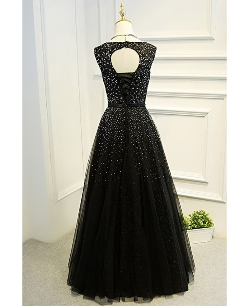 Sleeveless Beaded Long Black Ballgown Prom Dress With Bling