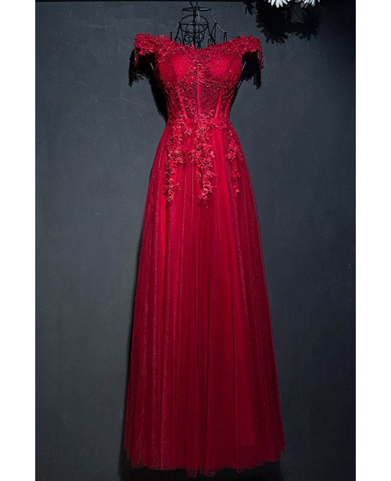 Retro Burgundy Corset Lace Long Formal Party Dress With Off Shoulder
