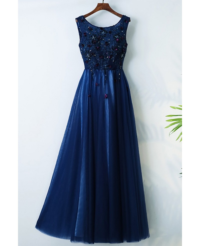 Navy Blue Long Cheap Formal Party Dress With Appliques