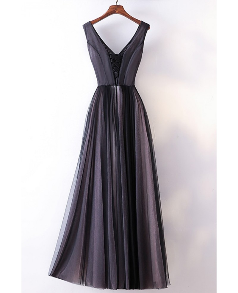 Different Long Black V-neck Cheap Prom Dress With Lace