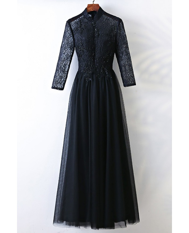 Vintage High Neck Long Black Prom Dress With Long Sleeves