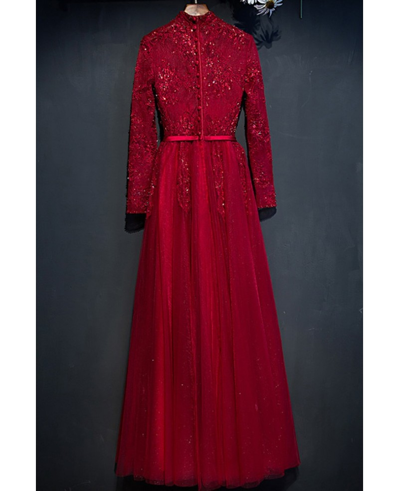 Unique Burgundy Long Lace Sleeve Prom Dress High Neck With Buttons