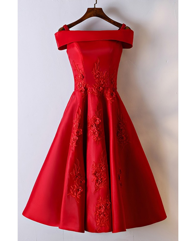 Gorgeous Red Off Shoulder A Line Lace Party Dress