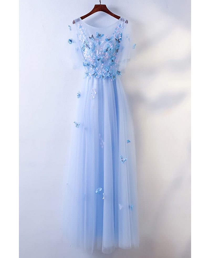 Cute Blue Flowy Long Cheap Prom Dress With Butterflies