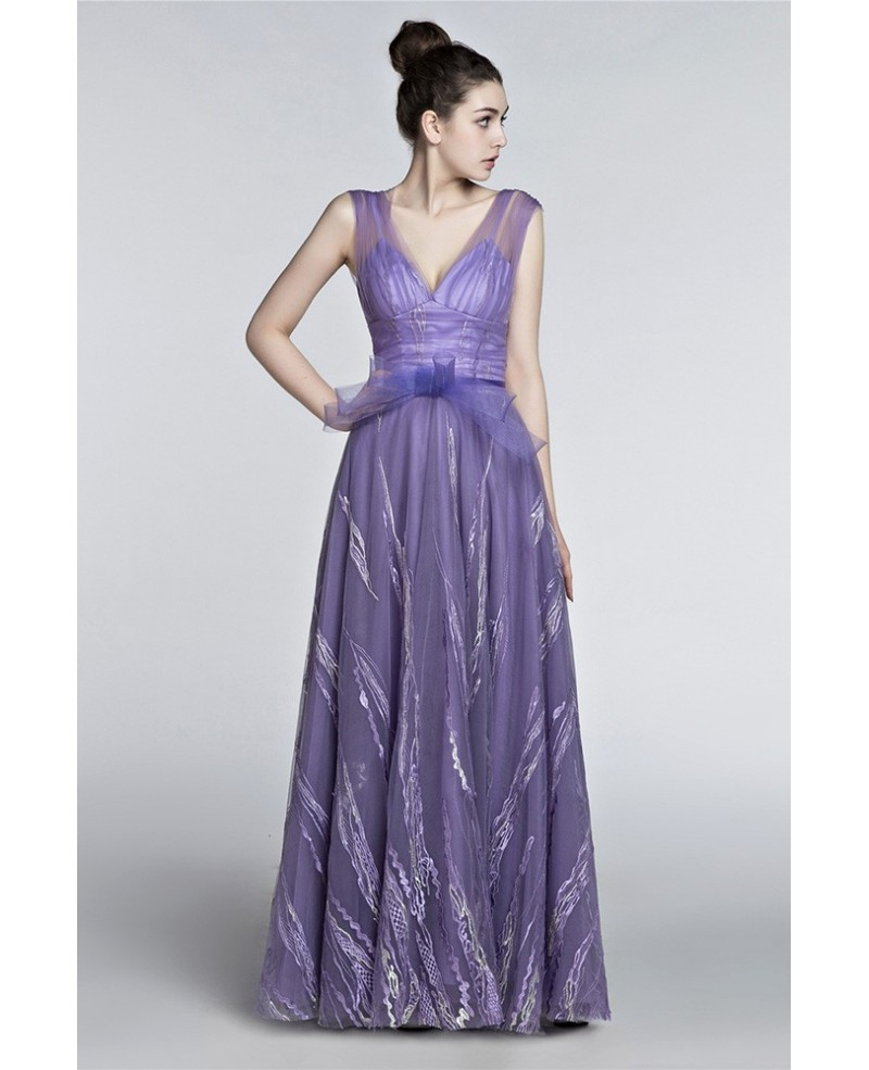 2018 Gorgeous V-neck A Line Prom Dress Lavender With Straps