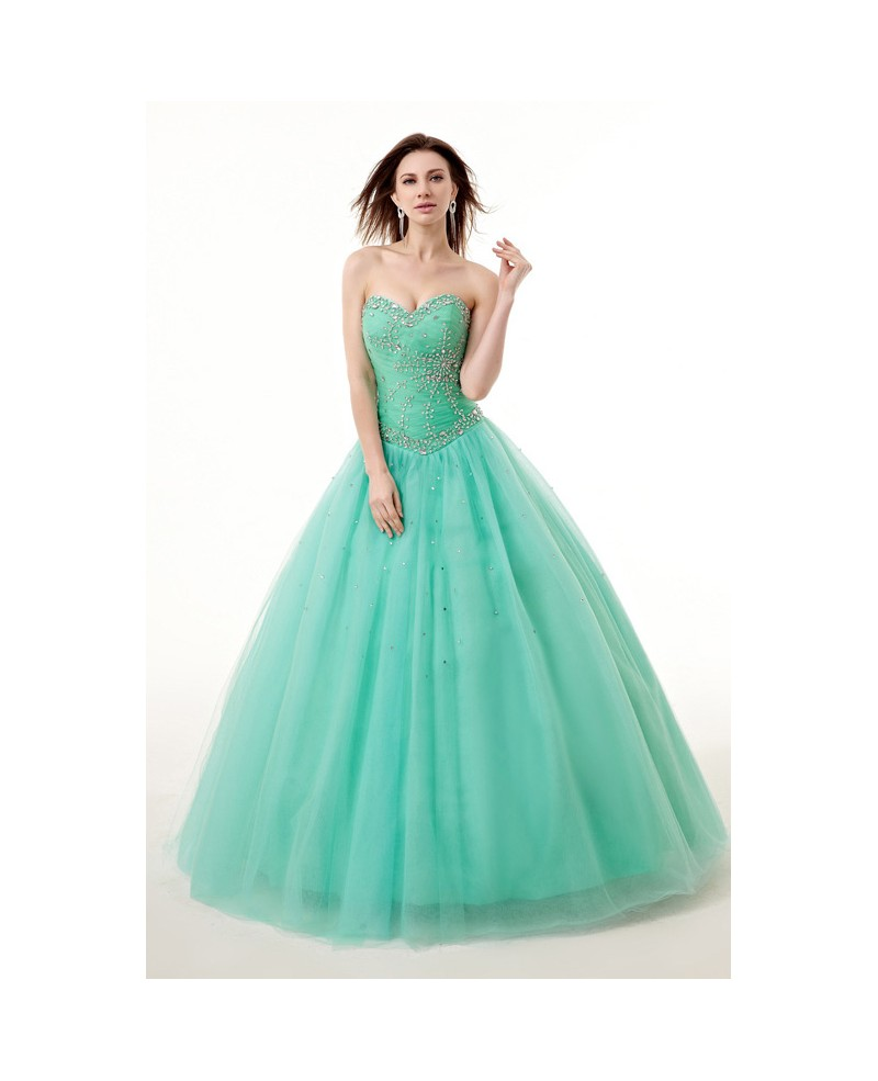 Princess Ballgown Beaded Sweetheart Long Tulle Prom Dress