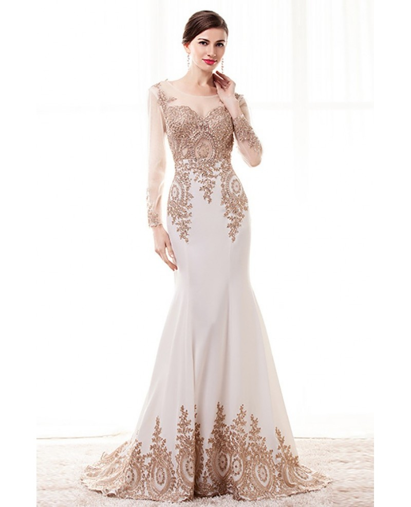 Special Long Sleeved Formal Evening Dress With Gold Applique Lace