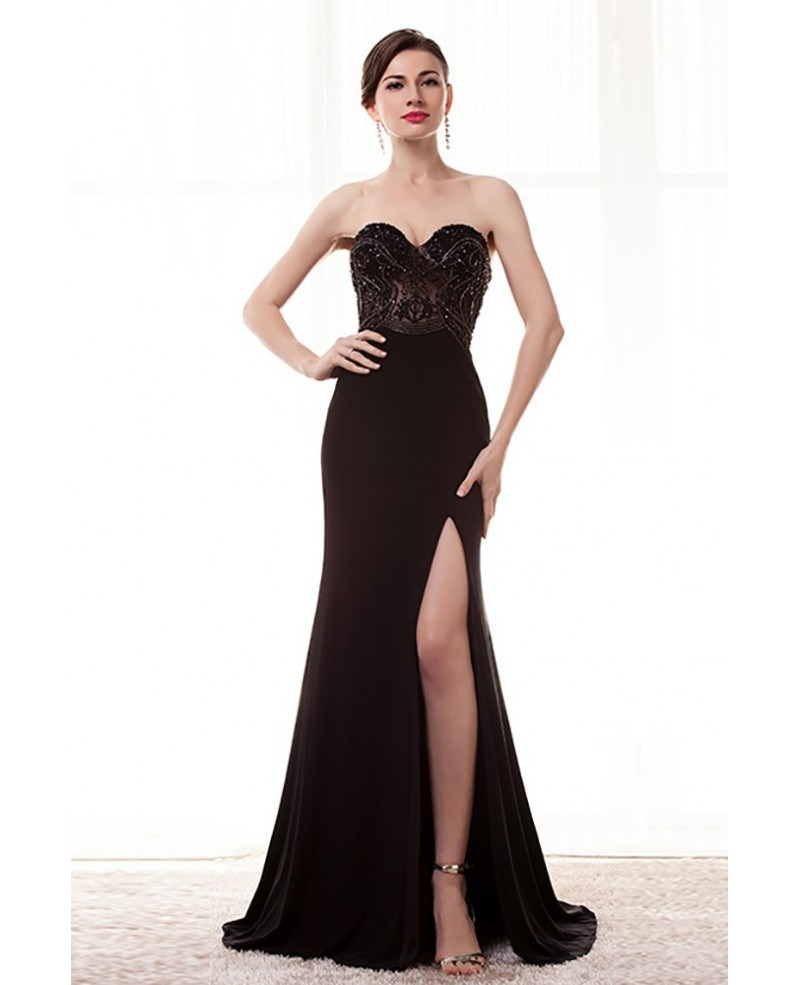 Strapless Slit Black Formal Prom Dress With Beading Bodice