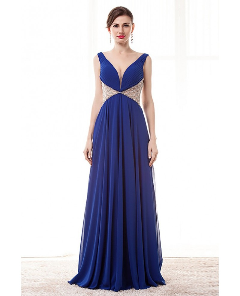 Open Back V-neck Blue Prom Dress Long With Beading Waist Straps