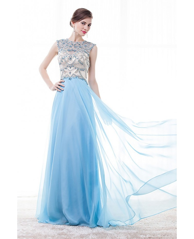 Vintage Sleeveless Prom Dress Sky Blue With Rhinestone Bodice