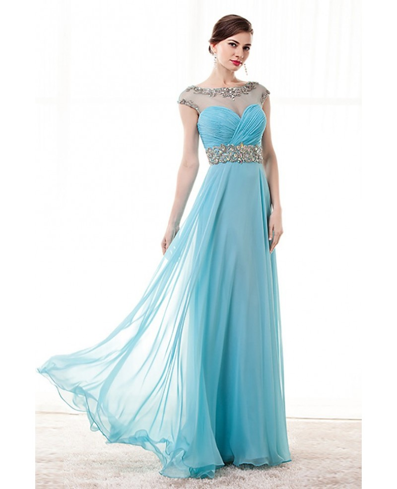 Sky Blue A Line Beaded Prom Dress Long With Open Back 2018