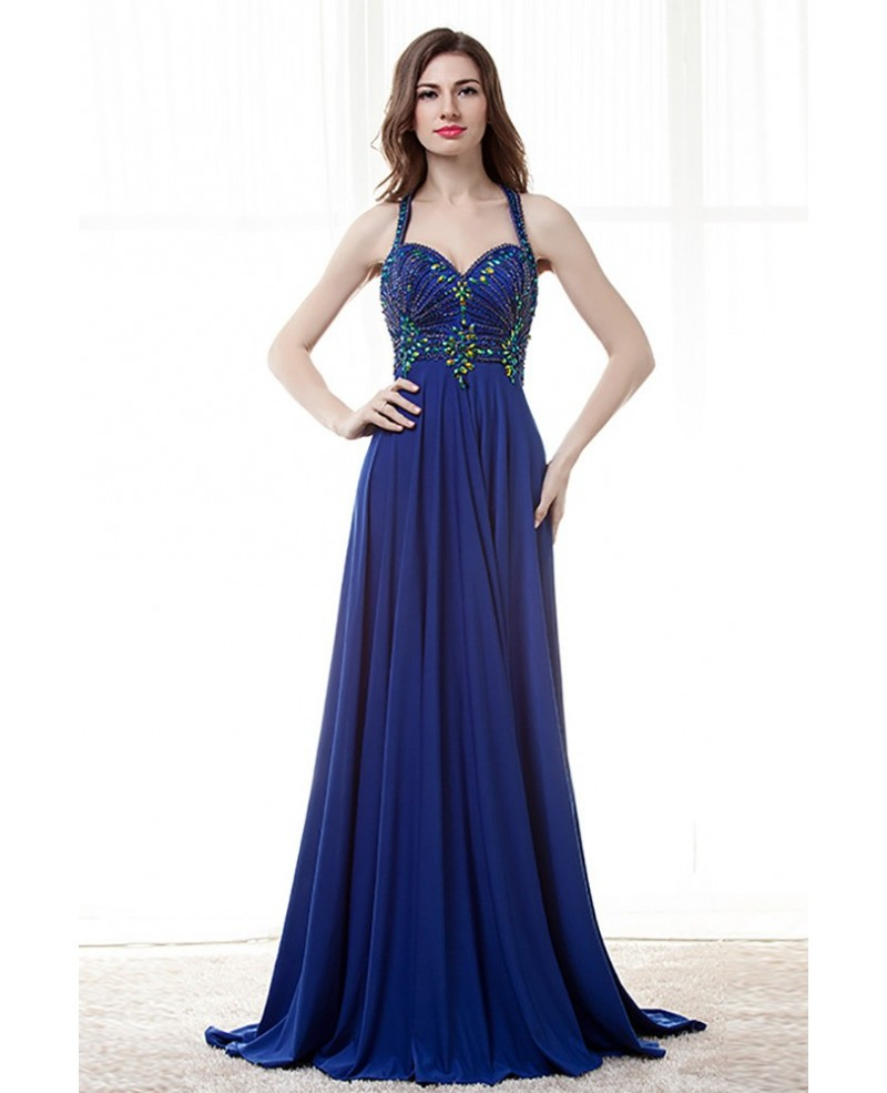 Unique Long Halter Royal Blue Prom Dress With Beaded Bodice