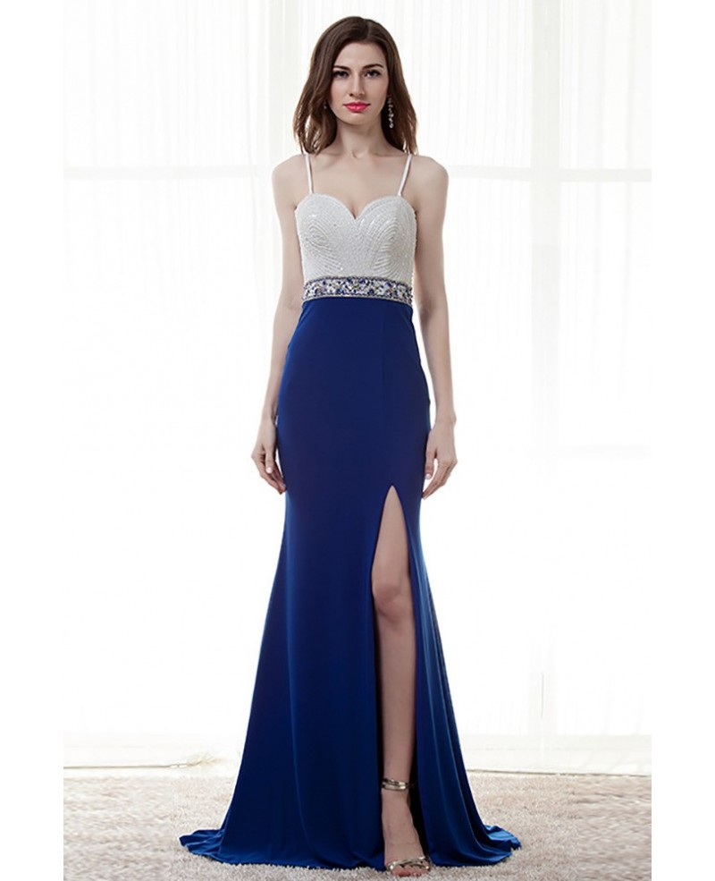 Different Straps Slit Blue Prom Dress With White Beading Bodice