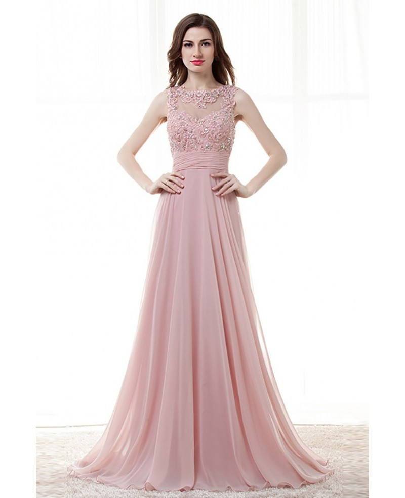 Light Pink A Line Long Prom Dress With Lace Beading Top