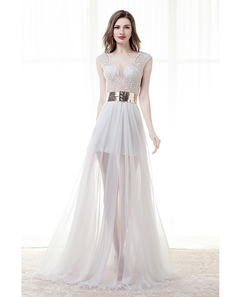 Different Sexy Sheer Prom Dress White With Slit For 2018