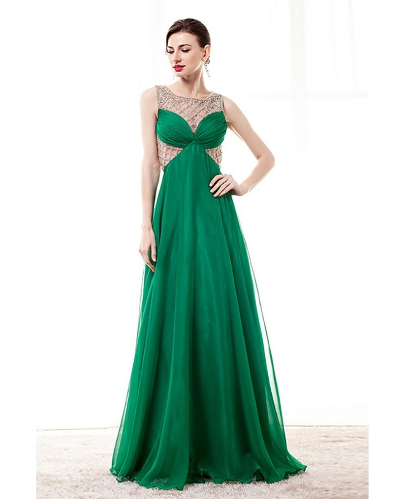 Unique Green Long Chiffon Prom Dress With Beading Grids Bodice