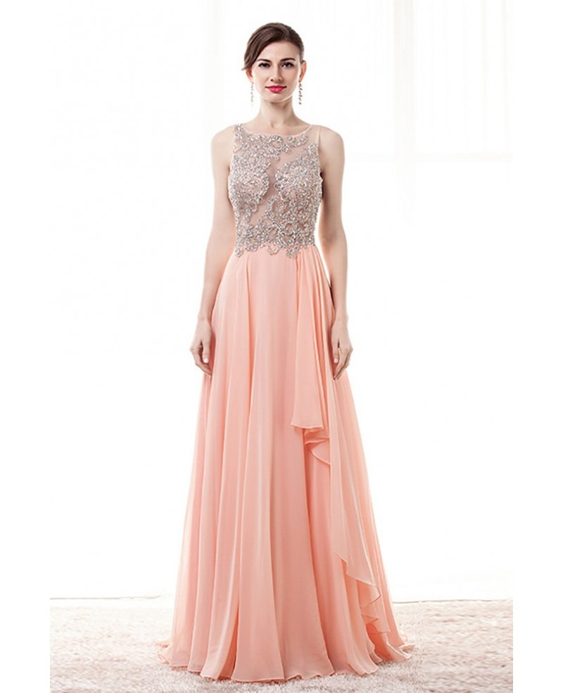 Gorgeous Pink A Line Prom Dress With Sheer Beading Top