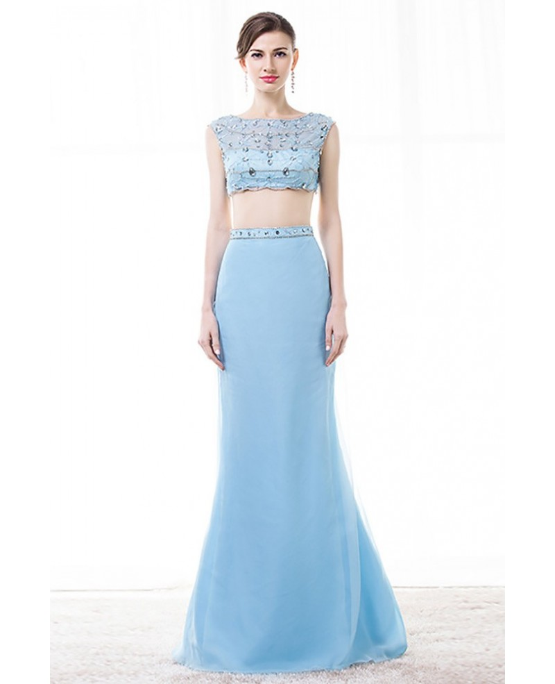 Crop Top Two Piece Prom Dress Sky Blue With Beading For Women