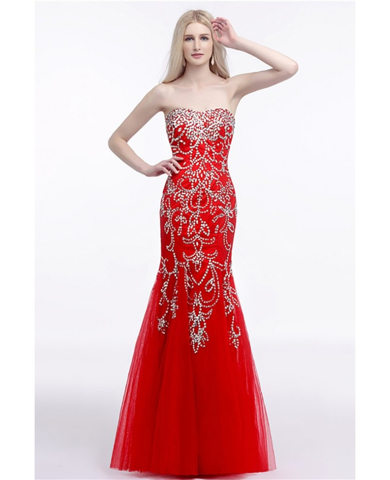 Beautiful Petite Fitted Red Prom Dress Long With Shiny Sequins