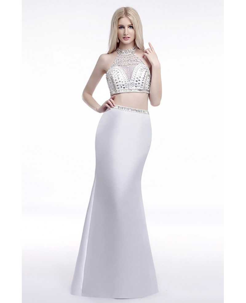 Backless Halter Crop Top Prom Dress White 2 Piece With Crystals