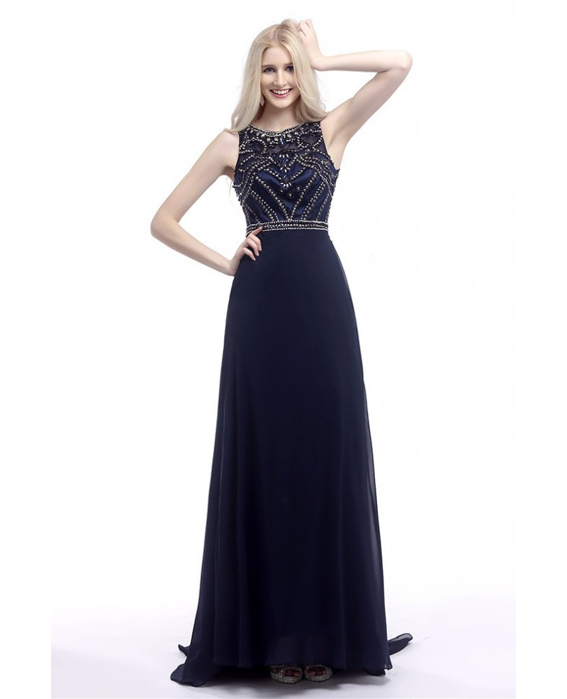 2018 Elegant Navy Blue Prom Dress Long With Glitter Crystals