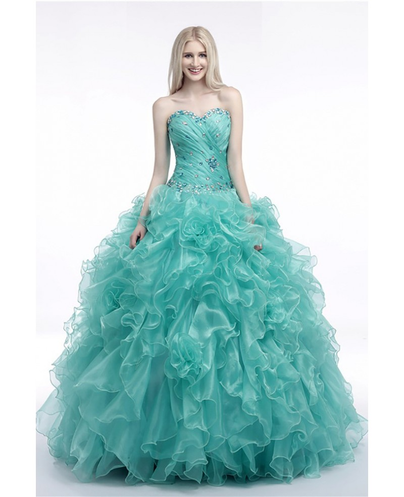 Turquoise Ball Gown Prom Dress With Cascading Ruffles For Juniors